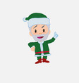 green santa claus talking very determined and vector image vector image
