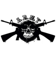 grunge skull in frame machine gun vector image