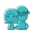 half body couple elderly of grandmother with wavy vector image