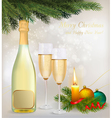 holiday background with two glasses champagne vector image vector image