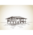 house on stilts on water vector image