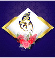 lord ganesha with flower decoration beautiful vector image vector image
