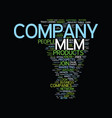 mlm company text background word cloud concept vector image vector image