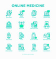 online medicine telemedicine thin line icons vector image vector image