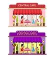 Open cafe building facade Flat vector image
