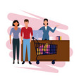 people shopping cartoon vector image