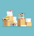 pile cardboard boxes paper documents and vector image