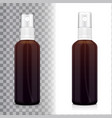 realistic brown bottle with atomizer mock up vector image vector image