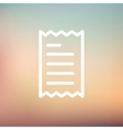 Receipt thin line icon vector image vector image