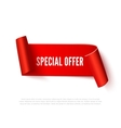 Red curved paper ribbon banner with rolls and vector image