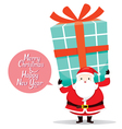 Santa Claus Carrying Big Gift Box On The Back vector image