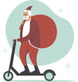 santa claus character riding electric scooter vector image vector image