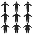 set icons human thick thin fat body size obesity vector image vector image