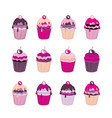 set of 12 cute cupcakes isolated on white vector image vector image