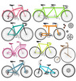 set of bicycles vector image vector image