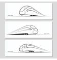 Set of modern speed train silhouettes and contours vector image