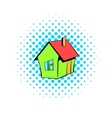 Small cottage icon comics style vector image