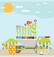 spring garden with wheelbarrow watering can and vector image vector image