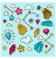 stars clouds and brilliants set with hand drawn vector image vector image