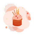 tasty cupcake candle valentine s day liquid vector image