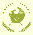 the emblem is a running cock vector image vector image