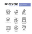 virtual reality - modern line icons set vector image vector image