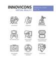 virtual reality - modern line icons set vector image