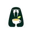 walrus tea leaf cup drink negative space logo icon vector image vector image