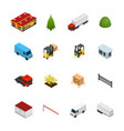 warehouse icon set 3d isometric view vector image vector image