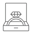 wedding ring in box thin line icon jewellery and vector image
