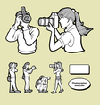 Photographer icons sketch vector image
