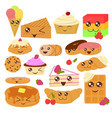 cute bakery goods in flat vector image