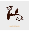 Raven on a branch halloween icon vector image