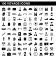 100 voyage icons set simple style vector image vector image
