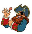 a pirate eats chicken leg fast food vector image