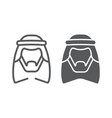 arab line and glyph icon male and muslim arabian vector image
