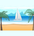 beach palm tree boat with sails on ocean vector image