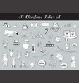 black and white christmas and winter sticker set vector image vector image