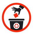 black icon throw garbage into trash can vector image vector image