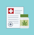 bottle with medical marijuana and medical cannabis vector image