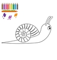Brown snail on white background Cartoon style vector image