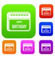 calendar happy birthday set collection vector image vector image