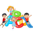 cartoon happy children playing together vector image vector image