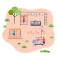 children on playground modern kindergarten vector image vector image