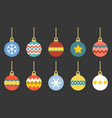 christmas balls set flat design vector image