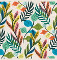 colorful tropical leaf and fern seamless pattern vector image