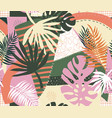 contemporary floral palm leaves and abstract vector image