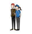 couple students standing of girl in shorts and vector image vector image