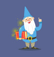 cute dwarf in a blue clothes standing and holding vector image