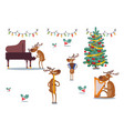 deers character musical band at holidays vector image vector image